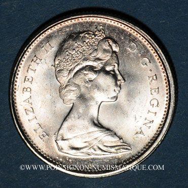 Monnaies Canada. Elisabeth II. 25 cents 1967