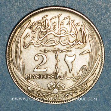 Monnaies Egypte. Occupation anglaise - Hussein Kamil (1333-1336H = 1914-1917). 2 piastres 1335H (= 1917)