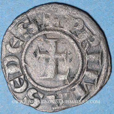 Monnaies Lyonnais, Archevêché de Lyon - Monnayage anonyme (vers 1200-1260). Obole au grand L barré