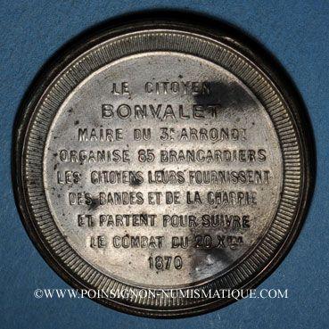 Monnaies Guerre de 1870-1871. Bonvalet organise 85 brancardiers. Médaille. 48 mm