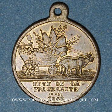 Monnaies Révolution de 1848. 14 mai - Fête du Champ de Mars. Médaille cuivre. 26,28 mm