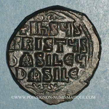 Monnaies Empire byzantin. Monnayage anonyme attribué à Basile II et Constantin VIII. Follis, classe A3