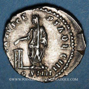 Monnaies Antonin le Pieux (138-161). Denier. Rome, 158-159. R/: Antonin voilé debout à g.