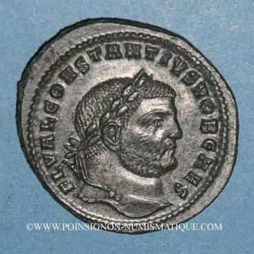 Monnaies Constance I Chlore. César (293-305). Follis. Cyzique, 2e officine, 297-299. R/: Génie