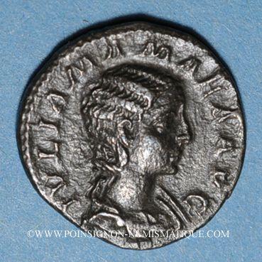 Monnaies Julia Mamée, mère d'Alexandre Sévère († 235). Denier. Rome, 222. R/: Junon