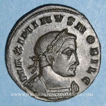 Monnaies Maximin II Daza, césar (305-308). Follis. Lyon, 1ère officine, 308. R/: Génie