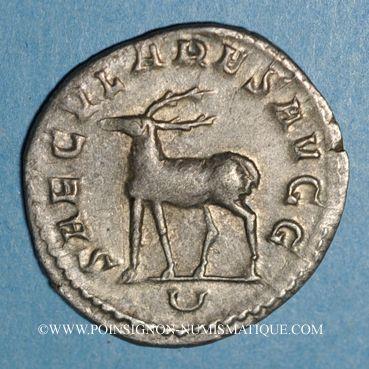 Monnaies Philippe I (244-249). Antoninien. Rome, 5e officine, 248. R/: cerf