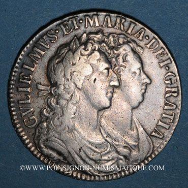 Monnaies Grande Bretagne. Guillaume et Marie (1688-1694). 1/2 couronne 1689