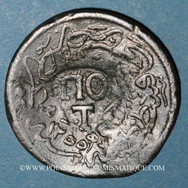 Monnaies Balkans. Ottomans. Plagia et Potamos (Lesbos). Bronze, 20 Para 1255H contremarqué sous Abdoul Hamid