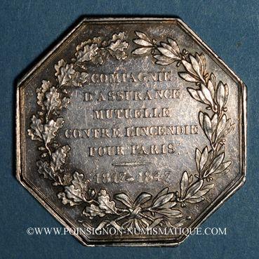 Monnaies Assurances. Paris, Mutuelle Incendie (M.A.C.I) 1847. Jeton argent. Poinçon: main