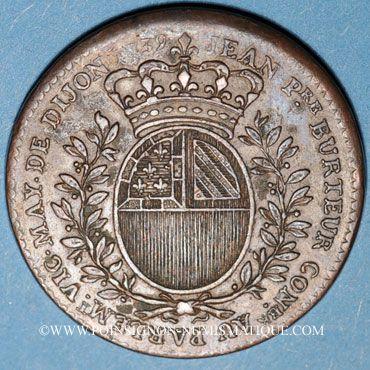 Monnaies Bourgogne. Mairie de Dijon. J. Burteur. Jeton cuivre 1739