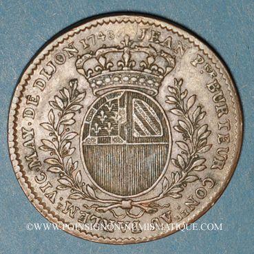 Monnaies Bourgogne. Mairie de Dijon. J. Burteur. Jeton cuivre 1748