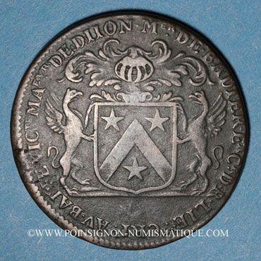 Monnaies Bourgogne. Mairie de Dijon. M. de Badier. Jeton cuivre 1686