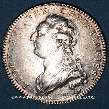Monnaies Champagne. Ville de Sens. Jeton argent 1766. Buste de Louis XVI à droite
