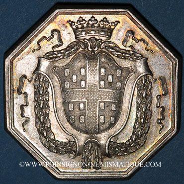 Monnaies de Choiseil L.-M., baron et capitaine de la garde du dauphin. Jeton argent octogonal 1771