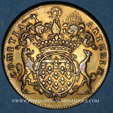 Monnaies Etats d'Artois. Louis XV. Jeton cuivre