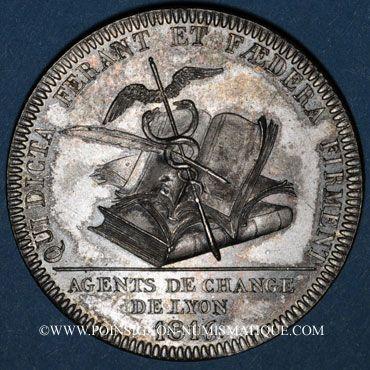Monnaies Lyon. Agents de change. Jeton argent 1816