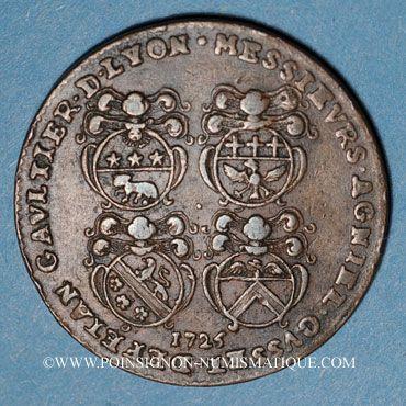 Monnaies Lyon. Municipalité. Dugas, président de la prévôté des marchands. Jeton cuivre 1727