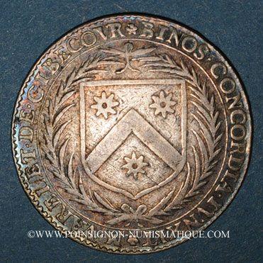 Monnaies Maine. Perrochel C., seigneur de Grandchamp et M. Varelet de Gibecour. Jeton argent n. d.