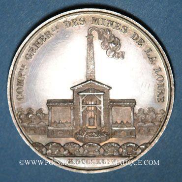 Monnaies Mines. Saint-Etienne. Mines de la Loire. Jeton en argent 1844