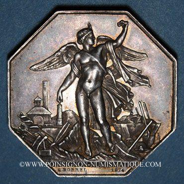 Monnaies Mines. Saint-Etienne. Mines de la Loire. Jeton en argent 1874