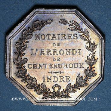 Monnaies Notaires. Chateauroux. Jeton argent. Poinçons : abeille et ARGENT