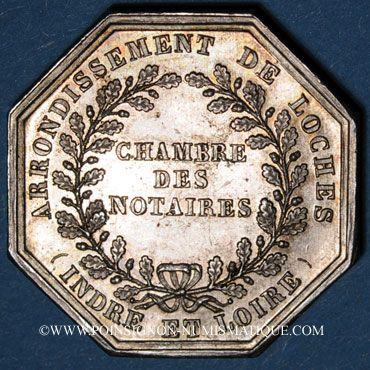 Monnaies Notaires. Loches. Jeton argent. Poinçon : corne d'abondance