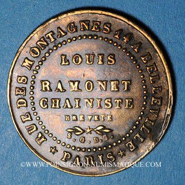 Monnaies Paris (75). Louis Ramonet, Chainiste bréveté (rue des Montagnes, 14 à Belleville). Jeton cuivre