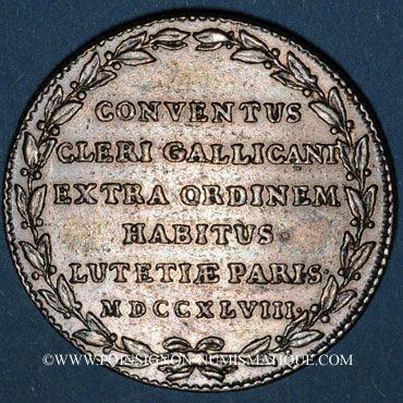 Monnaies Paris. Assemblée du Clergé de France. Louis XV. Jeton argent 1748