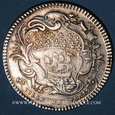 Monnaies Paris. Louis Bazile de Bernage, prévôt des marchands. Jeton argent 1754