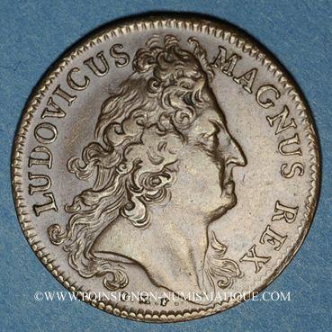 Monnaies Paris. Trésor royal. Louis XIV. Jeton cuivre 1708