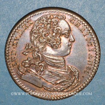 Monnaies Paris. Trésor royal. Louis XV. Jeton cuivre 1733