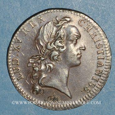 Monnaies Paris. Trésor royal. Louis XV. Jeton cuivre 1750