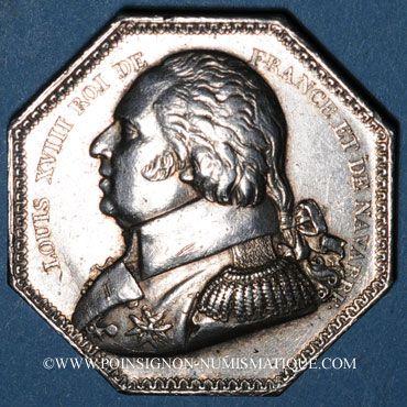 Monnaies Salines de l'Est. Louis XVIII. Jeton en argent. Sans poinçon