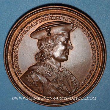Monnaies Lorraine. Ferry II, comte de Vaudémont et Islande d'Anjou. Médaille en bronze