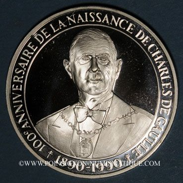 grande variété de styles marque célèbre acheter mieux monnaies medailles charles de gaulle (1890-1970). 100ème ...