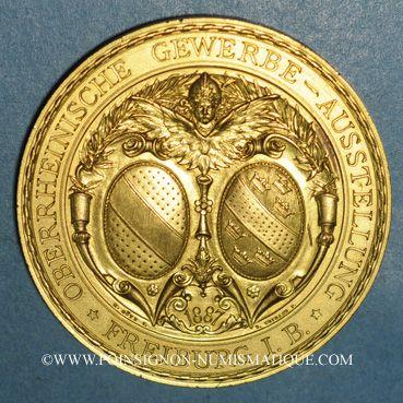 Monnaies Fribourg-en-Brisgau - Exposition industrielle du Rhin supérieur 1887. Bronze doré. 50 mm