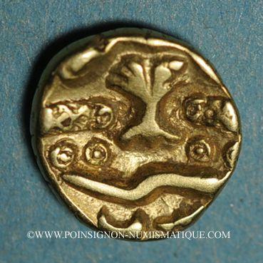 Monnaies Ambiani. Région d'Amiens. 1/4 statère à l'arbre, vers 60 - 30/25 av. J-C.