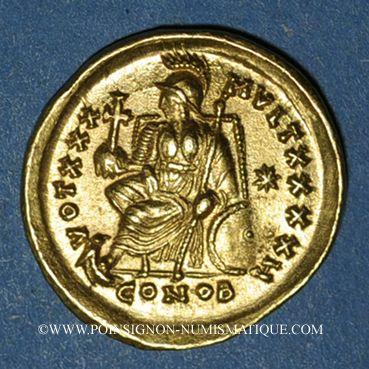 Monnaies Théodose II (408-450). Solidus. Constantinople, 8e officine, 430-440