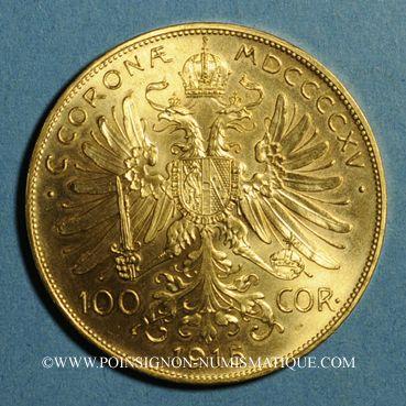 Monnaies Autriche. François Joseph (1848-1916). 100 couronnes 1915. Refrappe. (PTL 900‰. 33,87 g)