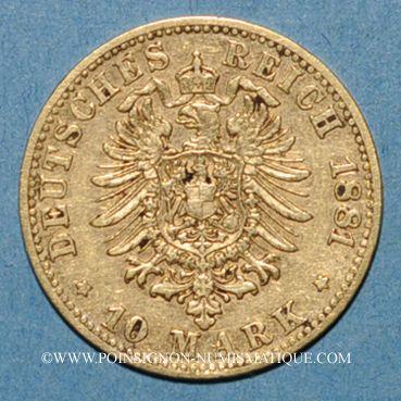 Monnaies Bavière. Louis II (1864-1886). 10 mark 1881D. (PTL 900/1000. 3,98 g)