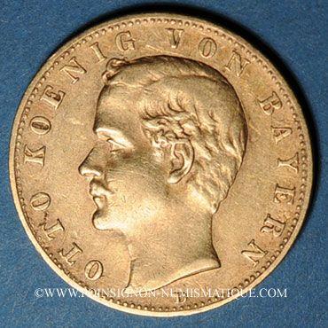 Monnaies Bavière. Otto (1886-1913). 10 mark 1893D. (PTL 900/1000. 3,98 g)