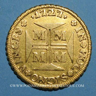 Monnaies Brésil. Jean V (1706-1750). 10 000 reis 1727. Minas Gerais