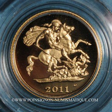 Monnaies Grande Bretagne. Elisabeth II (1952- ). 1/2 souverain 2011. (PTL 917‰. 3,99 g)
