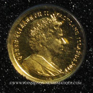 Monnaies Iles Malouines. Elisabeth II (1952 - /). 1/64 crown 2001 (PTL 999‰. 0,5 g)
