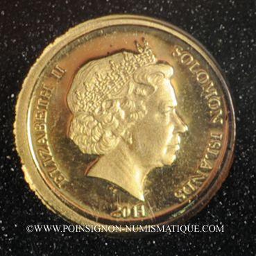Monnaies Iles Salomon. Elisabeth II (1952 - /). 5 dollars 2011. (PTL 999‰. 0,5 g)