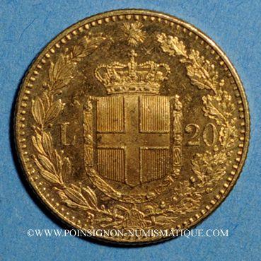 Monnaies Italie. Umberto I (1878-1900). 20 lires 1891 R oro rosso. Rome . (PTL 900‰. 6,45 g)