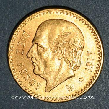 Monnaies Mexique. République. 10 pesos 1917. (PTL 900‰.  8,33 g)