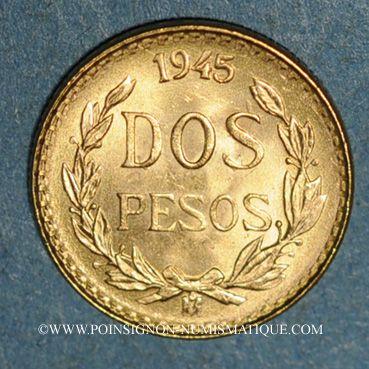 Monnaies Mexique. République. 2 pesos 1945. (PTL 900 /1000. 1,66 g)