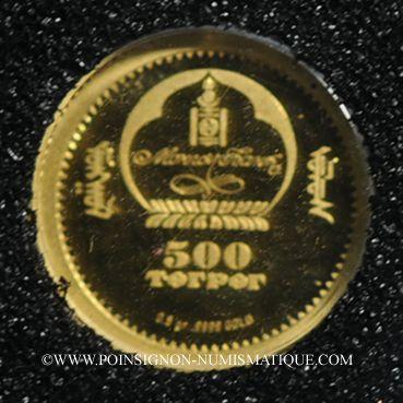 Monnaies Mongolie. République. 500 tugrik 2007 (PTL 999‰. 0,5 g)